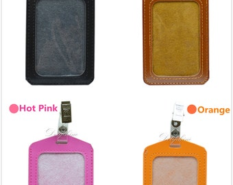 Vertical PU Leather ID Badge Holder with 1 ID Window and 1 Card Slot and Alligator Clip