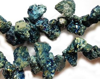 Blue druzy nuggets, top-drilled.  Select a size: 13x20mm - 22x30mm