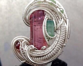 """Wire wrapped pendant """"Upward"""" Tourmaline and Garnets"""