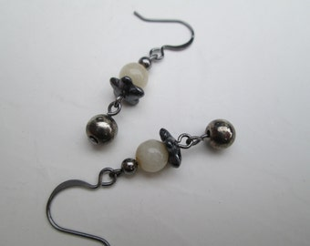 Creamy Quartz and Gunmetal earrings
