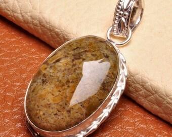 Beautiful Multi-Color 2 1/4 Inch Earth Jasper Silver Pendant Perfect Gift