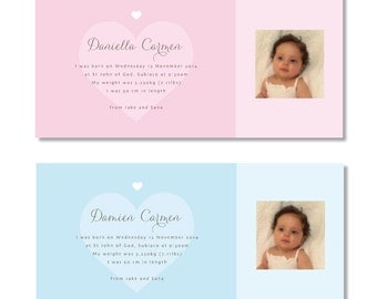 Baby announcement cards, purchase and download, printable, boy and girl baby announcement, baby arrival.