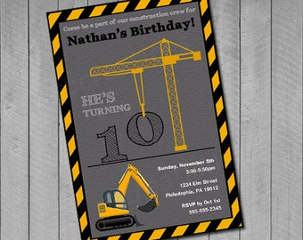 Construction Birthday Invitations, Construction Birthday Printables, Crane Invitation, Truck Birthday, Construction Party, Digital Printable