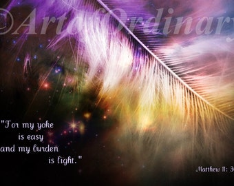 9 x 6 Download,Feather,Feather Image,Feather And Scripture,Coloured Feather Image,Scripture Wall Art,Scripture Fine Art,Matthew 11 30