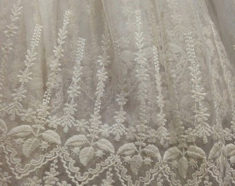 SALE Ivory Lace Fabric , Retro Embroidered Lace Fabric, French Lace Fabric, Bridal Lace Fabric