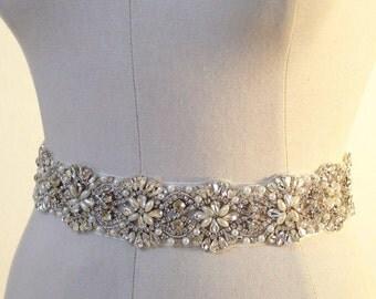 One Yard pearl and rhinestone bridal applique, crystal applique for wedding sash, beaded belt, bridal belt