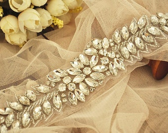 Crystal Beaded Rhinestone Applique Bridal Sash Wedding Gown Belt Applique