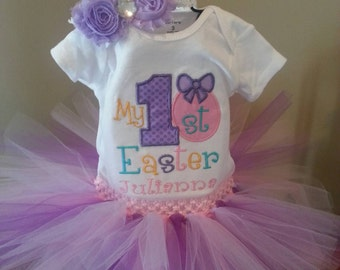 My 1st Easter personalized outift / baby girl first Easter/ pastel colors/ pink lavender /shirt tutu rosette headband /outfit /photo prop