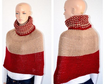 Knit Poncho/ Knitted winter poncho/ Free USA shipping/ Ready to ship