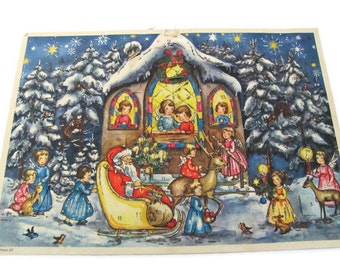 Vintage Christmas Advent Calendar, 1950's Haco Advent Calender, Paper Advent Calender, West Germany, 1950's Christmas Decor