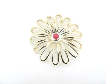 Vintage Flower Brooch, 1960's Gold Flower Brooch, Pin, Mod Flower Brooch, Pin, 1960s Brooch, Jewelry