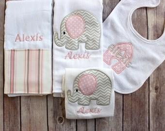 Personalized baby gift bodysuit bib personalized baby set monogrammed baby girl elephant gift set 2 burp cloths bodysuit and bib personalized elephant negle Choice Image