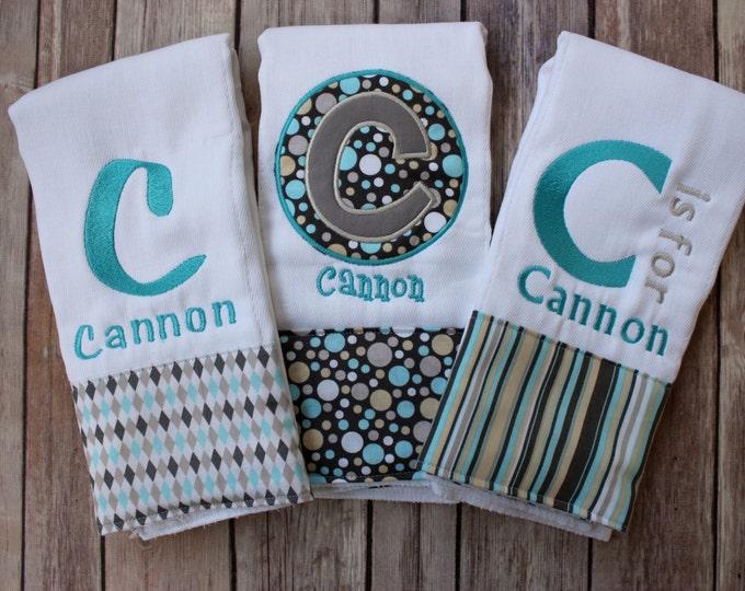 Monogrammed Boys Burp Cloth Gift Set - Applique Initial and Embroidered Burp Cloth Set - Monogram Baby Boy - Personalized Boy Burp Set