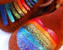 Custom Painted Glitter Sparkle Rainbow Hearts Kids Moccasins
