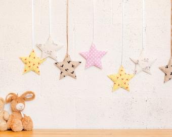 Colorful star nursery decor, Baby wall hanging, Baby girl nursery decor, Baby wall decor, Little girls room decor