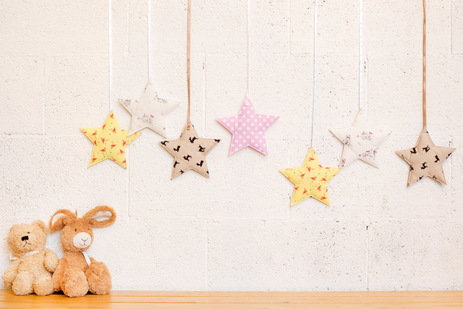 Colorful star nursery decor baby wall hanging baby girl - Stars for walls decorating ...