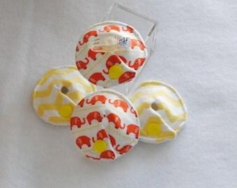 Orange Elephant & Yellow Chevron G-Tube Pads - Set of 4