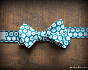 Retro Teal Numeral Dot Bow Tie by Steady As She Goes Easter party ring bearer wedding boys costume 6 12 mo 2T 3T 4 5 7 8 aqua blue turquoise