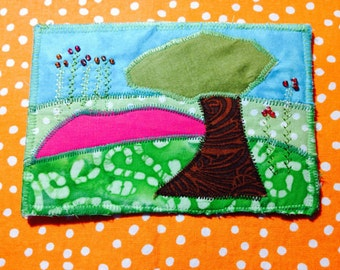 Post Card Quilted Fabric and Beaded Lanscape with Tree