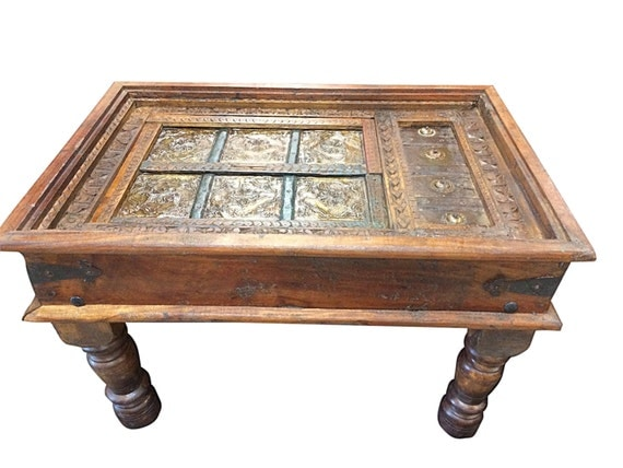 Antique Coffee Tabel Furniture Handmade Wood Carving Mughal Indian Style Table Vintage Patinas