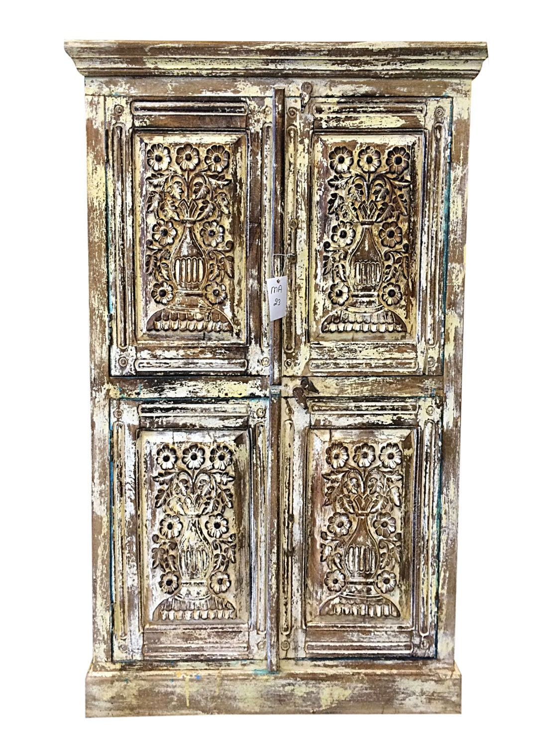 Vintage Carved Armoire Indian Furniture Antique By Mogulgallery
