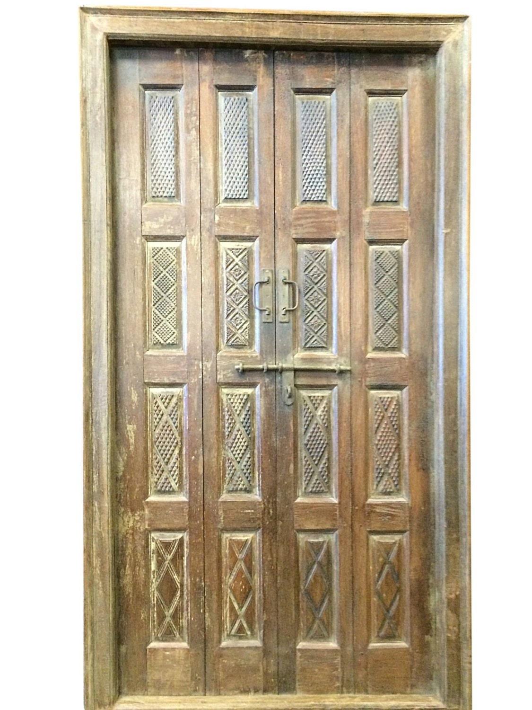 Indian Antique Door Hand Carved Teak Rustic Double By Mogulgallery