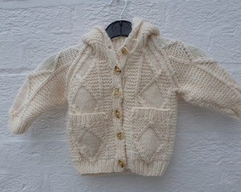 Girls cardigan kids clothing aran cardigan handmade clothes vintage gift wool cardigan childs winter cardigan 1-2yr toddler knit clothes UK