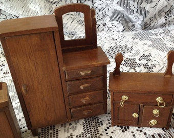 SALE Vintage Doll House Furniture 5 Piece Handmade Wood Secretary Dry Sink Nightstand Dresser Collectibles Miniatures by picadillymarket