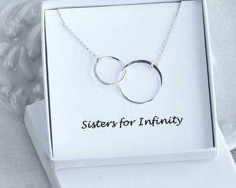 Sisters Necklace, Double Circles Necklace, Two Circles Eternity Necklace, Best Friends necklace, Sterling Silver Ring Necklace, BFF Gift