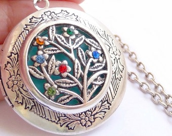 Personalized Family tree necklace Birthstone Family tree locket Best mom gift - birthstone Family necklace Family tree jewelry mom necklace