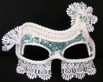 Masquerade Mask, Wedding Mask, Lace Mask, Winter Solstice - Moonlit Maid