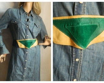 50% off 1980's Soft Leather and suede multi colored belt closes with snaps