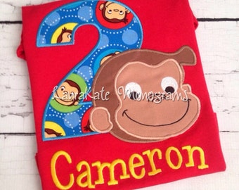 Personalized Curious George Appliqué Shirt, personalized, birthday, boy, girl, monkey, monogram, man with the yellow hat, hundley, initials