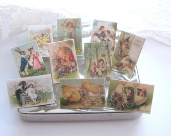 dollhouse postcards easter vintage  x 10 miniature  1:12th scale