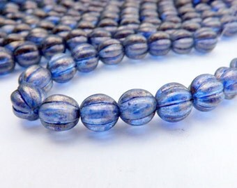 Czech Melon  Bead 8mm Halo Ultramarine 25 pieces- full strand.