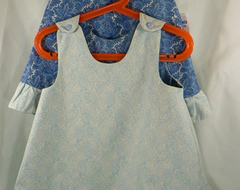 Reversible Jumper 18 Months or 1T blue Paisley with ruffle