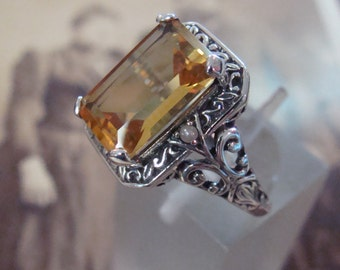 Charming Sterling  Citrine & Seed Pearl  Ring Size 6 1/2