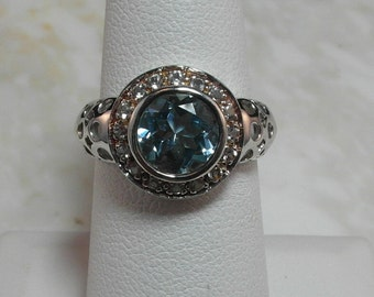 Estate Sterling Silver Ring with Sky Blue Topaz