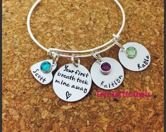 MOTHERS DAY gift Mothers grandmothers personalized adjustable bracelet
