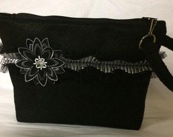 Black Felt and Silver Wristlet