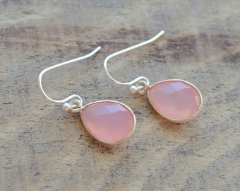 Pink Chalcedony Drop Earrings- Pink Chalcedony Gemstone Earrings- Pink Stone Earrings