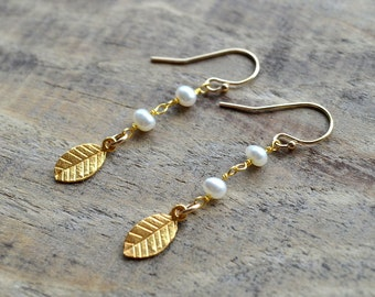 Gold Leaf and Freshwater Pearl Earrings- Gold Leaf Earrings- Pearl Earrings- Minimalist Earrings- June Birthstone Earrings