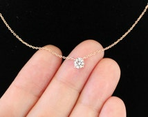 Solitary Cubic Zirconia Necklace, 14K Gold Filled Chain Or Sterling Silver Chain Or Rose Gold Filled Chain, Layering Necklace, Wedding