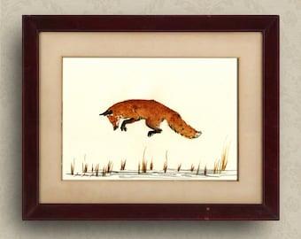 PRINT-Red fox  print watercolor painting art wall red fox head portrait - fox nursery kids room decor - fox art   - Art Print by Juan Bosco