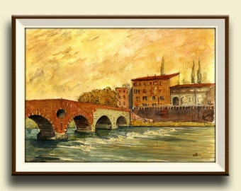 PRINT-Ponte pietra Verona adige river  ITALY -  Art Print by Juan Bosco