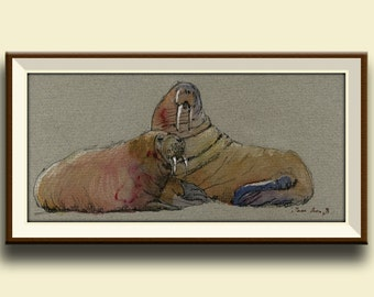 PRINT-Polar Walrus seal swim art painting watercolor print ice - Art Print by Juan Bosco