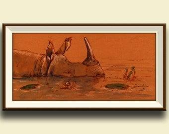 PRINT-Black rhino swimming africa decor Rhinoceros art print watercolor rhinioceros  african  -Art Print by Juan Bosco