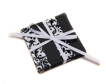 Black and White Cloth Drink Coasters - Cloth Coasters - Fabric Coaster Set