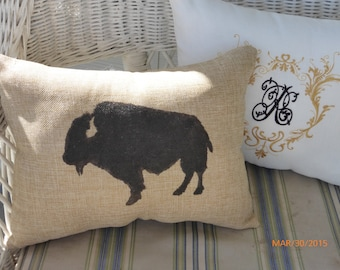 Bison  Pillows - Buffalo pillows - Burlap pillows-  Bison - animal pillows - animal print pillows - Pillows - Fathers Day Gift