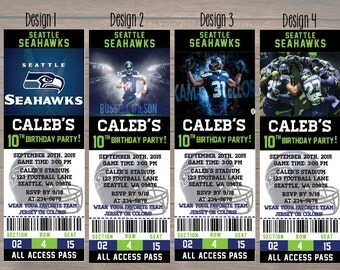 Seattle Seahawks, Custom Party Ticket Invitations, Birthday Invitation, Seattle Seahawks Birthday Ticket, Matching Thank you card